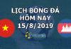 Lịch thi đấu bóng đá hôm nay ngày 15/8/2019 rạng sáng ngày 16/8/2019