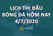 Lịch thi đấu bóng đá hôm nay ngày 4/7/2020 rạng sáng ngày 5/7/2020