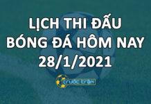 Lịch thi đấu bóng đá hôm nay ngày 28/1/2021 rạng sáng ngày 29/1/2021